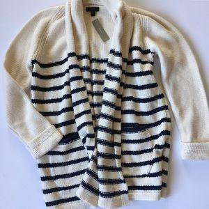 NWT J.Crew striped cardigan navy cream oversized